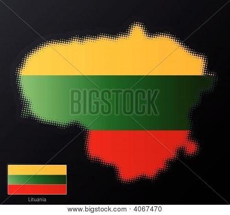 Lituania Modern Halftone Map Design Element