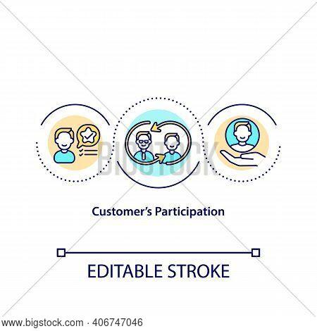 Customer Participation Concept Icon. New Value For Global Brands Idea Thin Line Illustration. Levera
