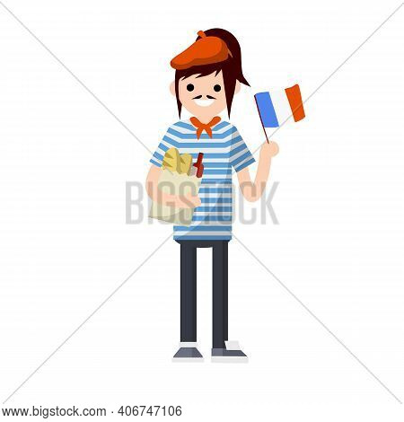 Cartoon Flat Illustration - Young French Girl With Mustache And Beret. Female Exchange Student From