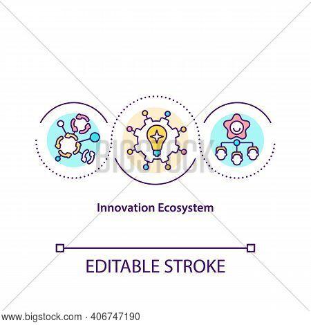 Innovation Ecosystem Concept Icon. Co Create Development At The Enterprise Idea Thin Line Illustrati
