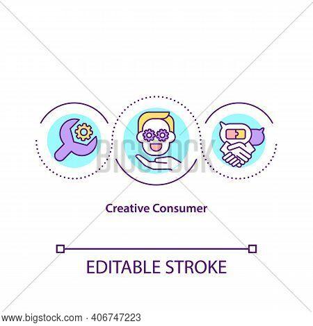 Creative Consumer Concept Icon. Idea Thin Line Illustration. Identification And Use Of The Innovativ