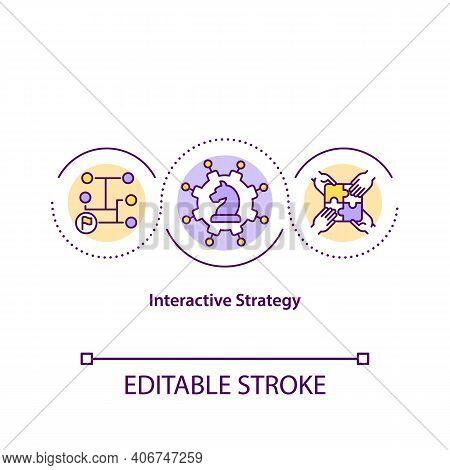 Interactive Strategy Concept Icon. Strategic Marketing Plan Idea Thin Line Illustration. Strategy Is