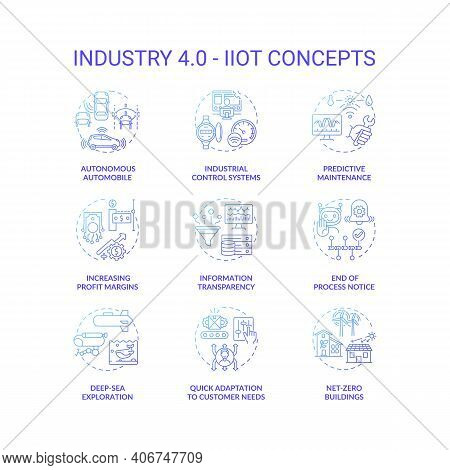 Industry 4.0 Concept Icons Set. Cyber-physical Systems Idea Thin Line Rgb Color Illustrations. Incre
