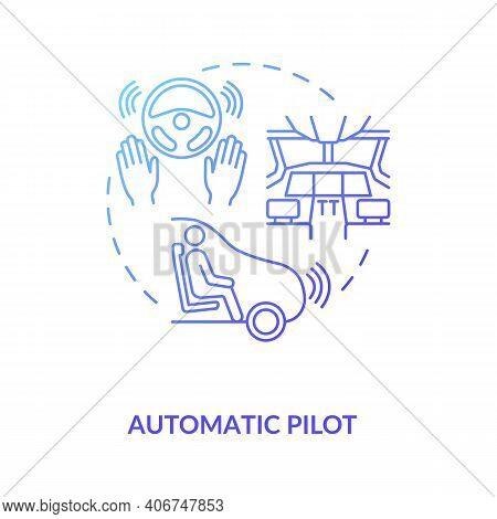 Automatic Pilot Concept Icon. Autopilot Idea Thin Line Illustration. Automatically Maintaining Prese