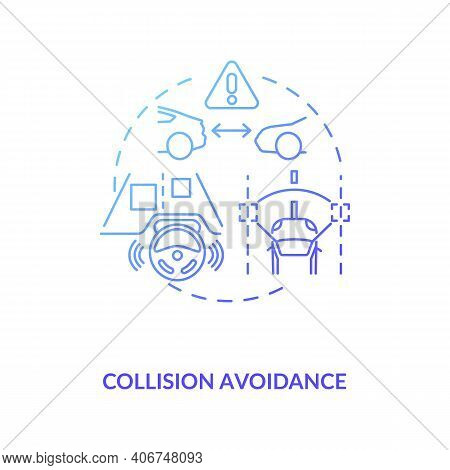 Collision Avoidance Concept Icon. Cyber-physical System Usage Idea Thin Line Illustration. Vehicle S