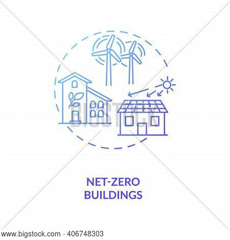 Net-zero Buildings Concept Icon. Cps Usage Idea Thin Line Illustration. Removing Human-produced Carb