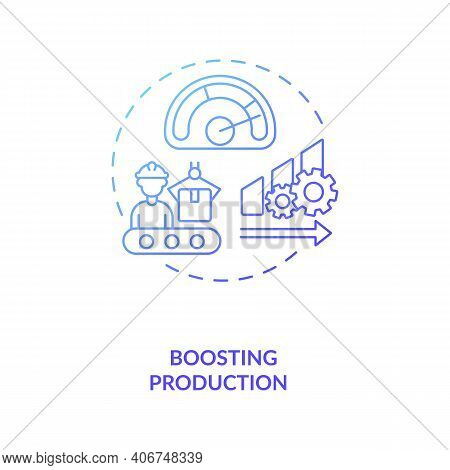 Boosting Production Concept Icon. Industry 4.0 Goal Idea Thin Line Illustration. Efficient Productio