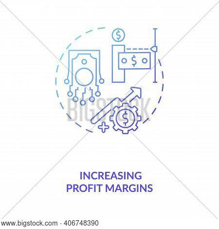 Increasing Profit Margins Concept Icon. Industry 4.0 Goal Idea Thin Line Illustration. Generating Re