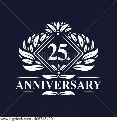 25 Years Anniversary Logo, Luxury Floral 25th Anniversary Logo.