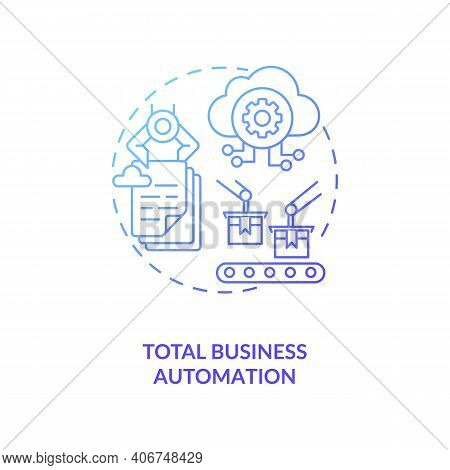 Total Business Automation Concept Icon. Industry 4.0 Goal Idea Thin Line Illustration. Intelligent A