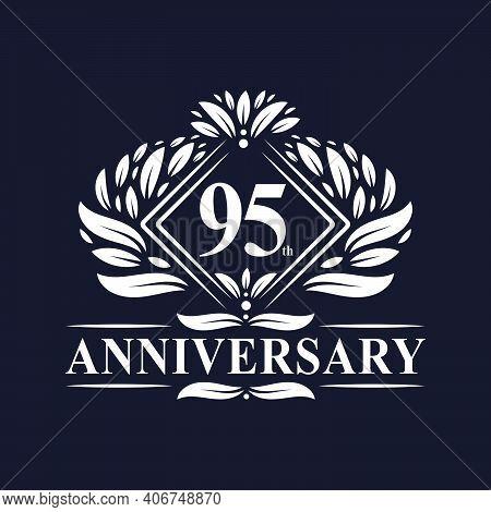 95 Years Anniversary Logo, Luxury Floral 95th Anniversary Logo.