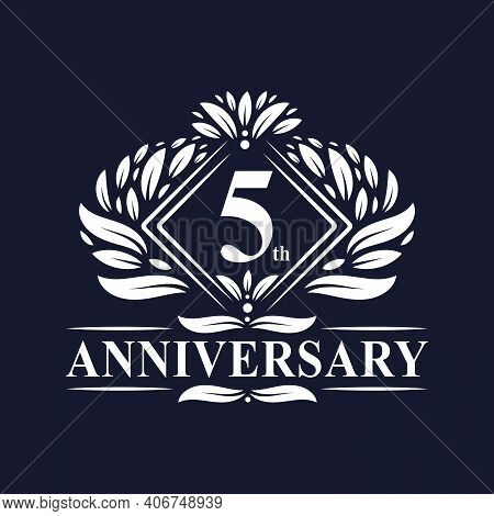 5 Years Anniversary Logo, Luxury Floral 5th Anniversary Logo.