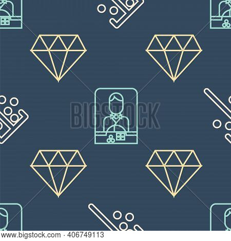 Set Line Stick For Chips, Diamond And Casino Dealer On Seamless Pattern. Vector