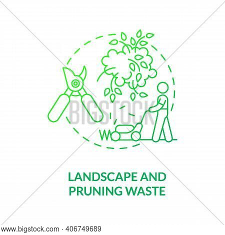 Landscape And Pruning Waste Concept Icon. Organic Waste Type Idea Thin Line Illustration. Green Refu