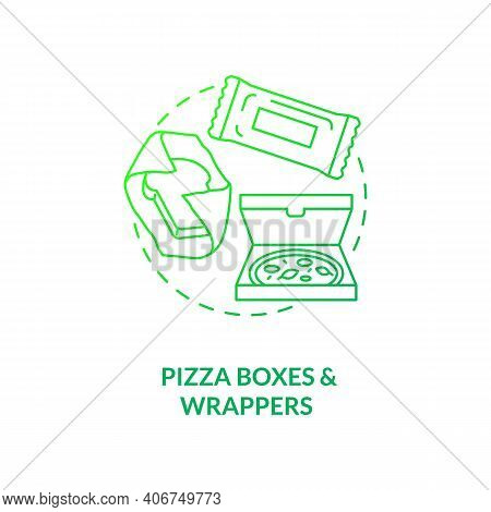 Pizza Boxes And Wrappers Concept Icon. Corrugated Cardboard Idea Thin Line Illustration. Recycling N