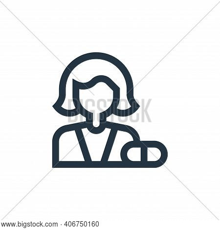 Pharmacist icon isolated on white background from pharmacy collection. Pharmacist icon thin line out