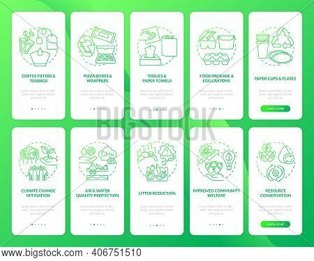 Biodegradable Waste Reducing Onboarding Mobile App Page Screen With Concepts Set. Welfare, Conservat