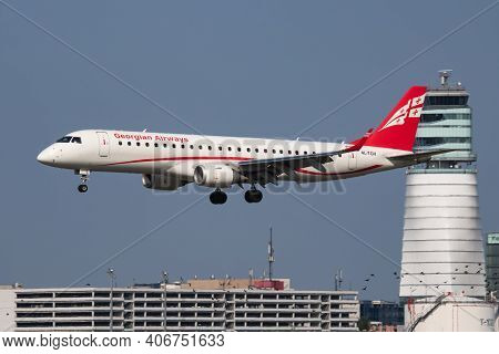 Vienna, Austria - May 13, 2018: Georgian Airways Embraer Erj-190 4l-tgv Passenger Plane Arrival And