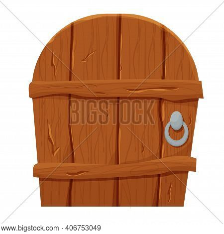 Wooden Door In Cartoon Style, Comic Isolated On White Background. Fantasy Entrance, Outdoor Interior