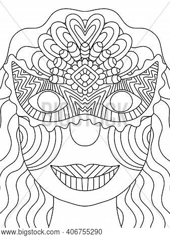 Happy Young Woman With Long Hair And Venetian Mask Portrait Stock Vector Illustration. Funny Mardi G