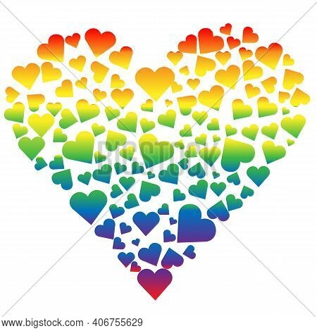 The Heart Of Lgbt. Vector Hearts Made Of Rainbow Colors Of Hearts. Isolated Object, Flat Illustratio