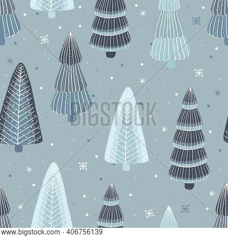 Vector Illustration Of Seamless Pattern With Trees And Fir-tree In Winter Time With Snow In Flat Car