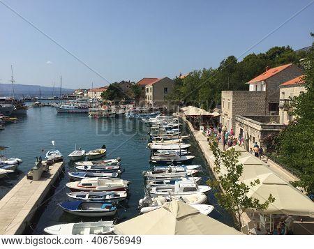 View Over The Harbor In Bol On The Island Brac In Croatia 29.8.2017