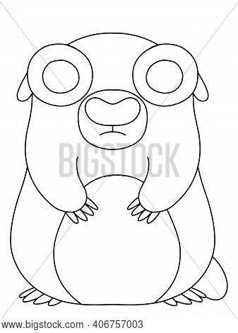 Cute Groundhog Animal Coloring Page Stock Vector Illustration. Happy February Traditional Event Masc