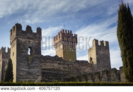 The Scaligero Castle Of Lazise Is A Medieval Fortress From The Scaliger Era Placed In Defense Of The