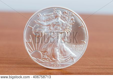 1oz Fine Silver One Dollar (bullion Coin). Side With Walking Liberty And United States' Official Mot