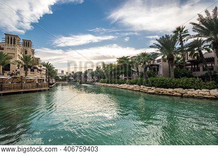 Dubai, United Arab Emirates - 05 December, 2018: Madinat Jumeirah The Arabian Resort - Dubai Is A 5