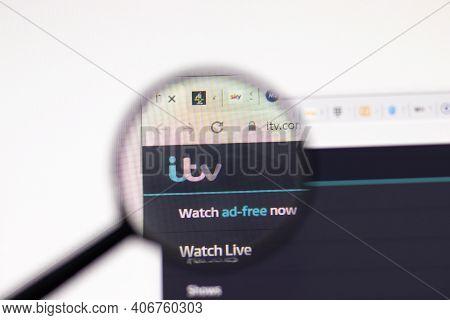 Los Angeles, Usa - 1 February 2021: Itv Website Page. Itv.com Logo On Display Screen, Illustrative E