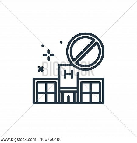 no visiting icon isolated on white background from virus restrictions collection. no visiting icon t
