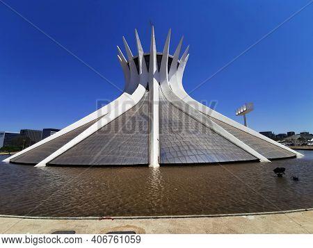 Brasilia, Brazil - September 14, 2019: View Of Metropolitan Cathedral Of Brasilia.