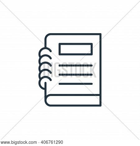 notebook icon isolated on white background from education collection. notebook icon thin line outlin