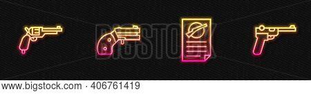 Set Line Firearms License Certificate, Revolver Gun, Small Revolver And Mauser. Glowing Neon Icon. V