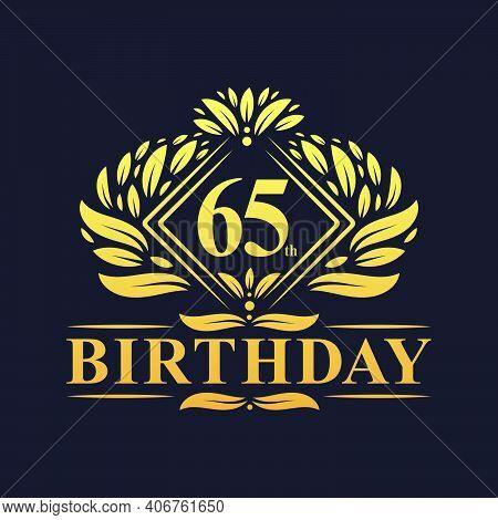 65 Years Birthday Logo, Luxury Golden 65th Birthday Celebration.