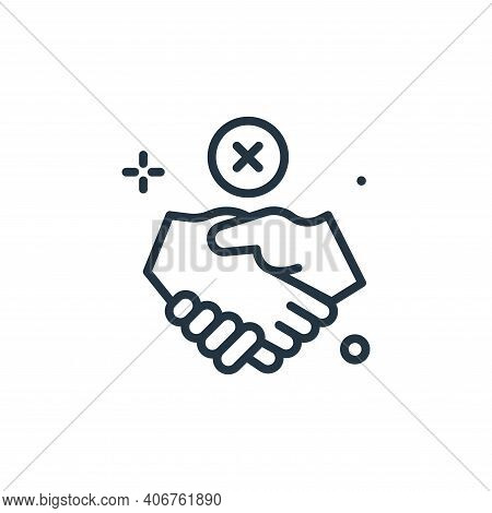 no handshake icon isolated on white background from coronavirus collection. no handshake icon thin l