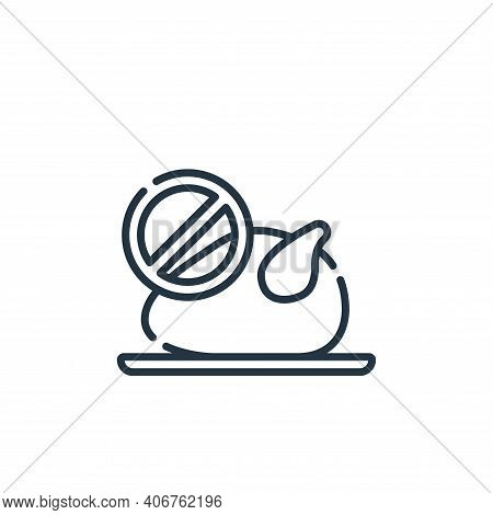 no chicken icon isolated on white background from vegan food collection. no chicken icon thin line o