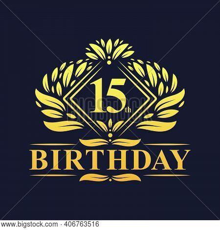 15 Years Birthday Logo, Luxury Golden 15th Birthday Celebration.