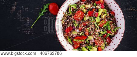 Tabbouleh With Quinoa. Tabbouleh Salad - Traditional Middle Eastern Cuisine. Vegetarian Salad With Q