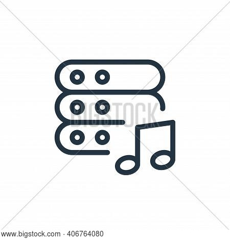 music icon isolated on white background from work office server collection. music icon thin line out