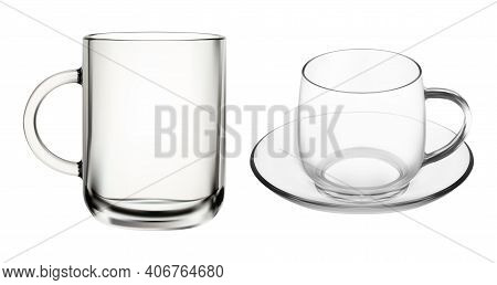 Glass Cup. Transparent Coffee Tea Cups, Isolated Empty Mug Illustration. Teacup With Handle, Ice Cap