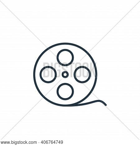 movie reel icon isolated on white background from cinema collection. movie reel icon thin line outli