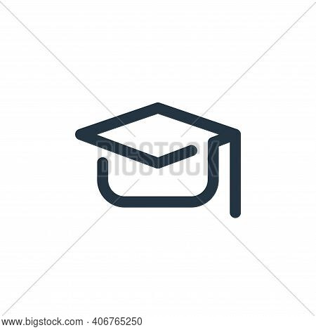mortarboard icon isolated on white background from school collection. mortarboard icon thin line out