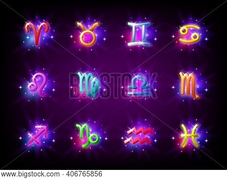 Colorful Starry Zodiac Signs Set. Horoscope. Aries, Taurus, Gemini, Cancer, Leo, Virgo, Libra, Scorp