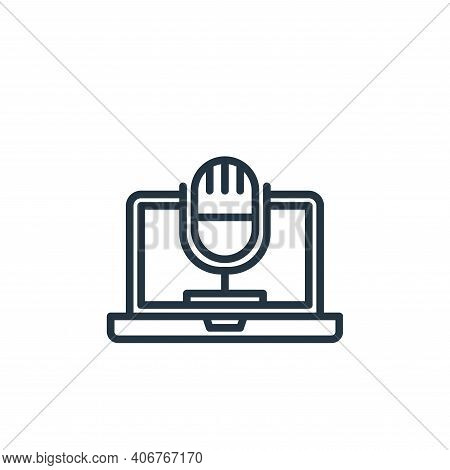 microphone icon isolated on white background from elearning collection. microphone icon thin line ou