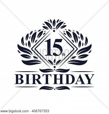 15 Years Birthday Logo, Luxury 15th Birthday Celebration.