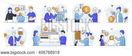 Collection Of Illustrations Of Frugality And Saving Money. Abstract Family And Retirement Savings Co
