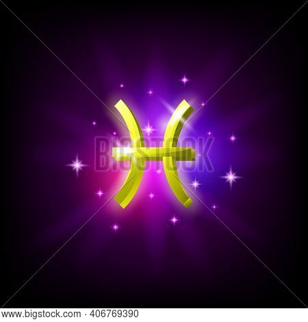 Pisces Zodiac Constellation Icon In Space Style On Dark Background With Galaxy And Stars. Zodiac Sig